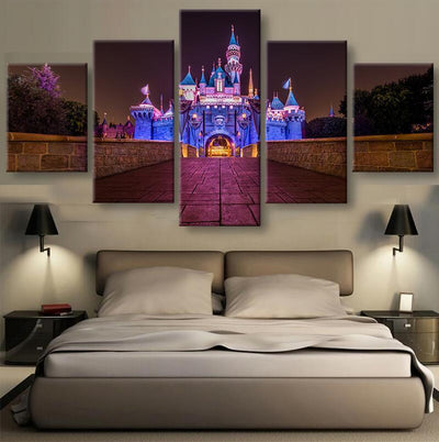 TEEPEAT Canvas Disney Castle at Night Time - 5 Piece Canvas Painting