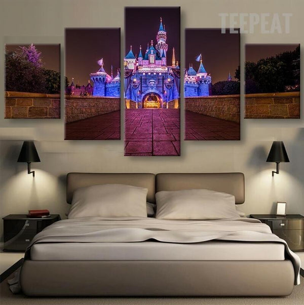Disney Castle At Night Time 5 Piece Canvas Painting Empire Prints
