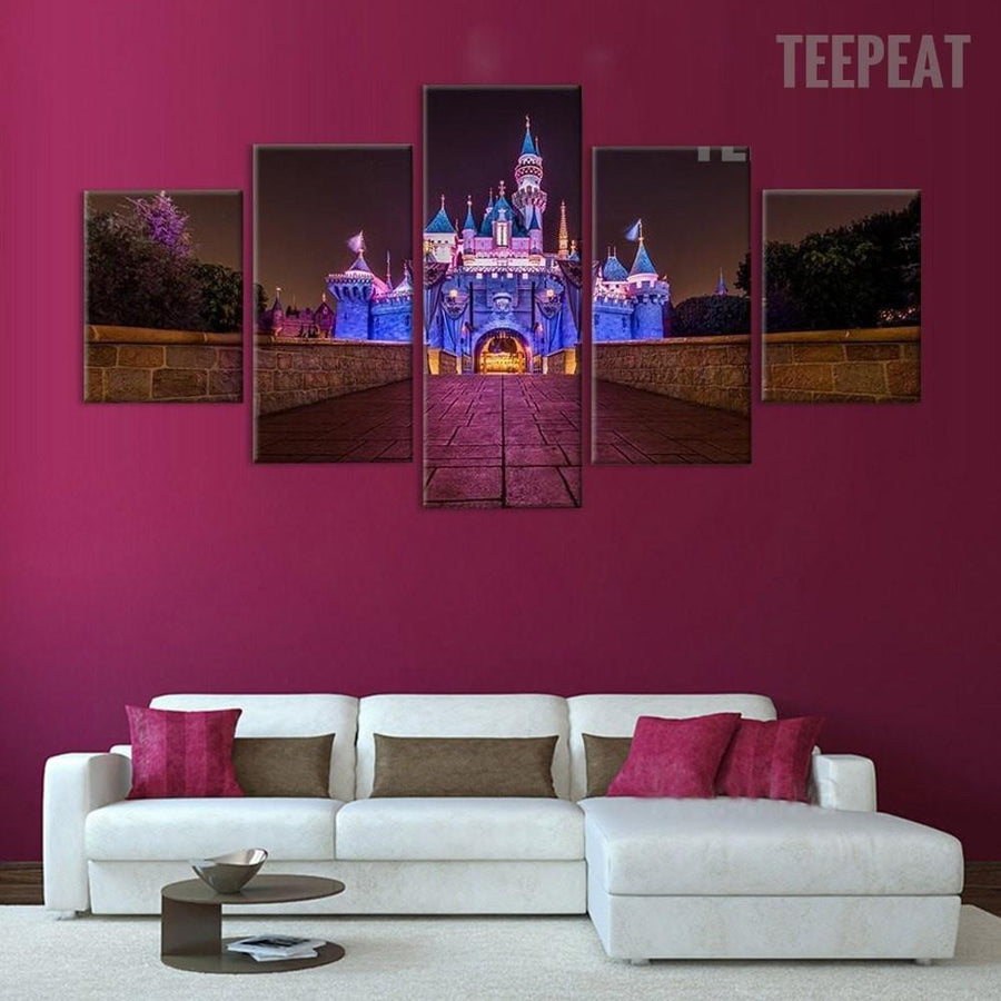 Disney Castle at Night Time - 5 Piece Canvas Painting