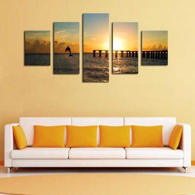 TEEPEAT Canvas Dolphin Before The Sunset Seascape -  5 Piece Canvas Painting