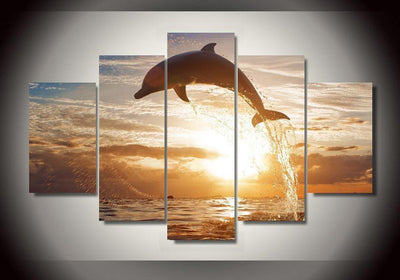TEEPEAT Canvas Dolphin In The Ocean Painting - 5 Piece Canvas