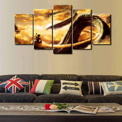 TEEPEAT Canvas Dragon Ball Cuadros For Living Room   5 Piece Canvas Painting