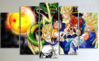 TEEPEAT Canvas Dragon Ball Super Saiyans Painting - 5 Piece Canvas