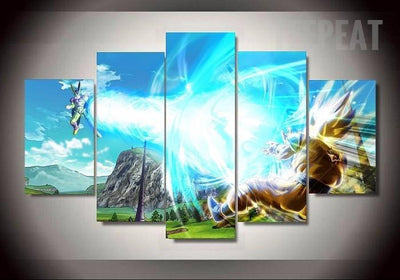 TEEPEAT Canvas Dragon Ball Z Fight Scene - 5 Piece Canvas Painting