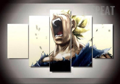 TEEPEAT Canvas Dragon Ball Z Vegeta Transformation - 5 Piece Canvas