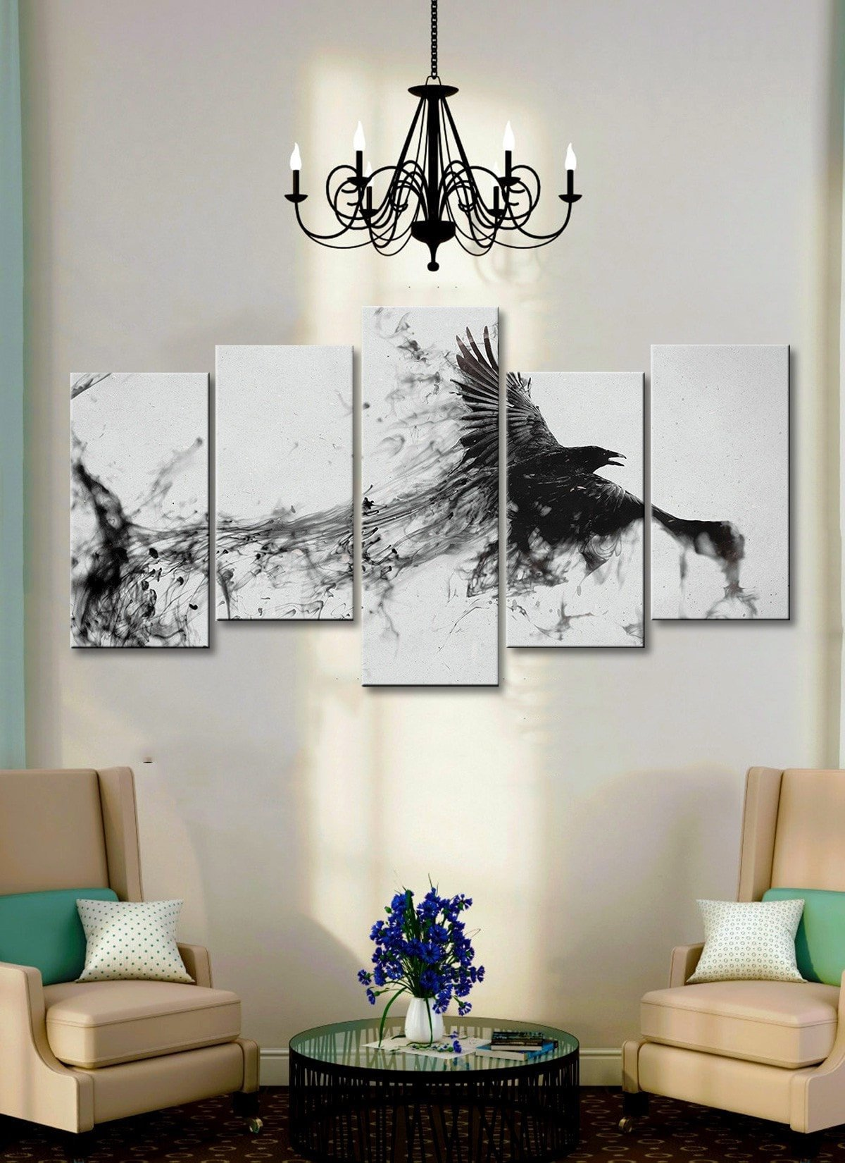 Eagle Ink Painting 5 piece canvas Empire Prints