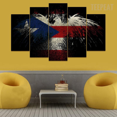 TEEPEAT Canvas Eagle & The Flag- 5 Piece Canvas Painting