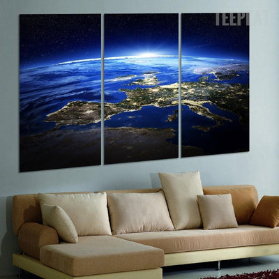 TEEPEAT Canvas Earth Sunrise V2 Painting - 3 Piece Canvas
