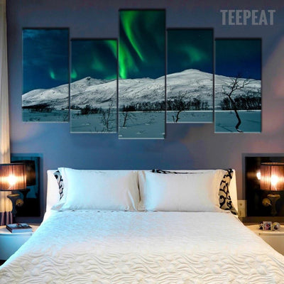 TEEPEAT Canvas Extra Large / Unframed Aurora Borealis Scenery - 5 Piece Painting