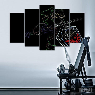 "TEEPEAT Canvas ""Fade To Black"" Link - 5 Piece Canvas Painting"