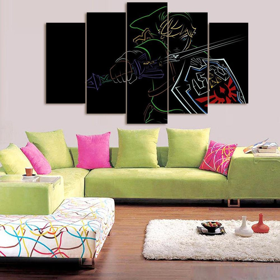 """Fade To Black"" Link - 5 Piece Canvas Painting"