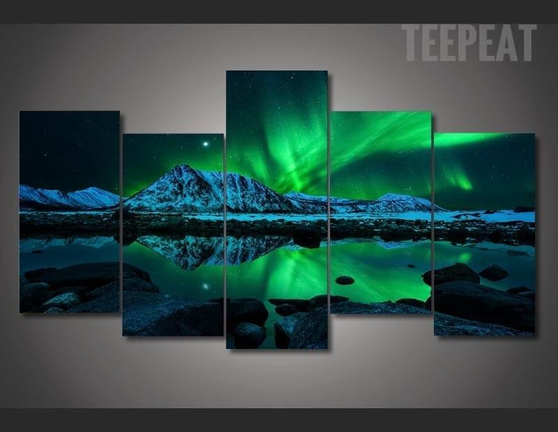 Aurora Borealis Painting - 5 Piece Canvas