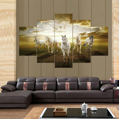 TEEPEAT Canvas Large / Unframed A String of Horses Painting - 5 Piece Canvas