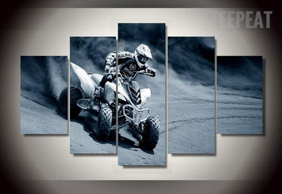 TEEPEAT Canvas Medium / Framed ATV Racing - 5 Piece Canvas Painting