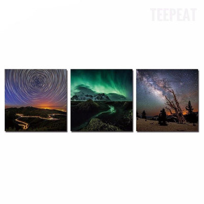 "TEEPEAT Canvas Medium / Framed ""The Skies From Earth"" - 3 Piece Canvas Painting"