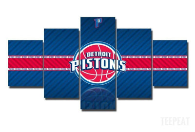 TEEPEAT Canvas Medium / Unframed 2017 Detroit Pistons Banner - 5 Piece Canvas Painting