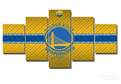 TEEPEAT Canvas Medium / Unframed 2017 Golden State Warriors - 5 Piece Canvas Painting