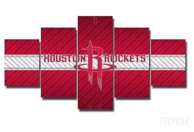 TEEPEAT Canvas Medium / Unframed 2017 Houston Rockets Banner - 5 Piece Canvas Painting