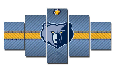 TEEPEAT Canvas Medium / Unframed 2017 Memphis Grizzlies Banner - 5 Piece Canvas Painting