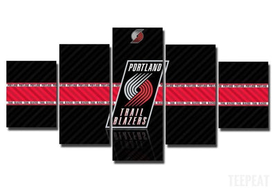 TEEPEAT Canvas Medium / Unframed 2017 Portland Trailblazers Banner - 5 Piece Canvas Painting