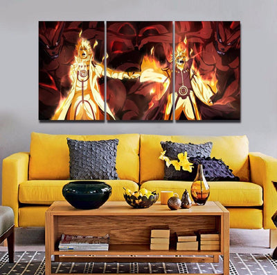 TEEPEAT Canvas Medium / Unframed 4th Hokage and Naruto - 3 Piece Canvas