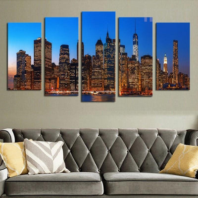 TEEPEAT Canvas Medium / Unframed A Night View At The City - 5 Piece Canvas Painting