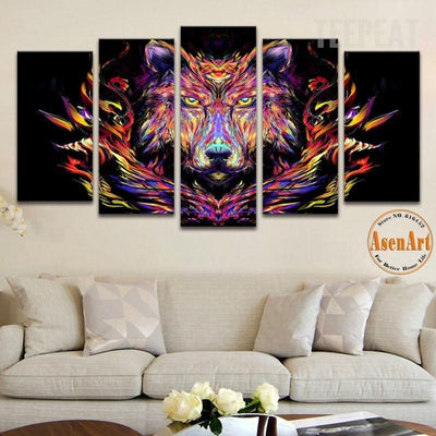 TEEPEAT Canvas Medium / Unframed Abstract Wolf Painting - 5 Piece Canvas