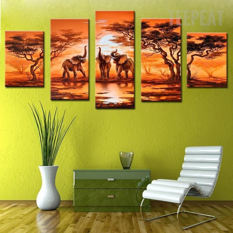 African Elephants Before The Sunset - 5 Piece Canvas - Empire Prints