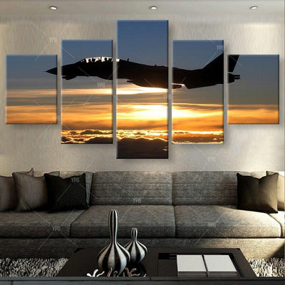 TEEPEAT Canvas Medium / Unframed Aircraft in Sunset Painting - 5 Piece Canvas
