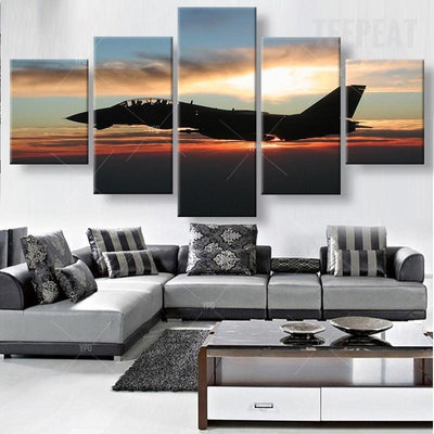 TEEPEAT Canvas Medium / Unframed Aircraft in Twilight Painting - 5 Piece Canvas