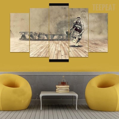 "TEEPEAT Canvas Medium / Unframed Allen Iverson ""The Answer"" - 5 Piece Canvas Painting"