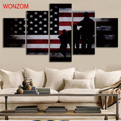 TEEPEAT Canvas Medium / Unframed American Flag and Soldiers Painting - 5 Piece Canvas