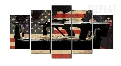 TEEPEAT Canvas Medium / Unframed American Flag & Gun Painting - 5 Piece Canvas