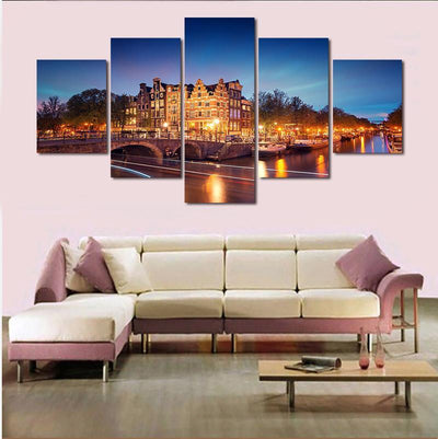 TEEPEAT Canvas Medium / Unframed Amsterdam Building Landscape View - 5 Piece View