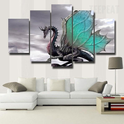 TEEPEAT Canvas Medium / Unframed Ancient Butterfly Dragon With Colorful Wings - 5 Piece Canvas