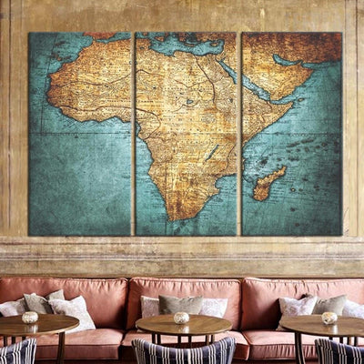 TEEPEAT Canvas Medium / Unframed Ancient World Map - 3 Piece Canvas