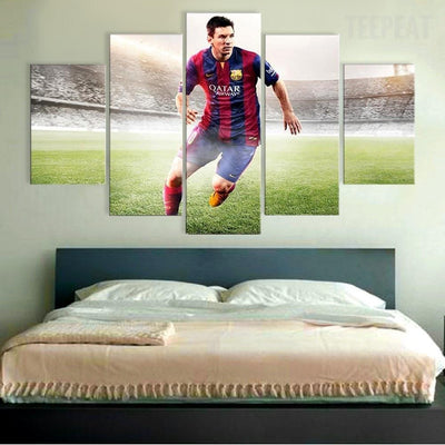 TEEPEAT Canvas Medium / Unframed Argentina Footballers Lionel Messi - 5 Piece Canvas
