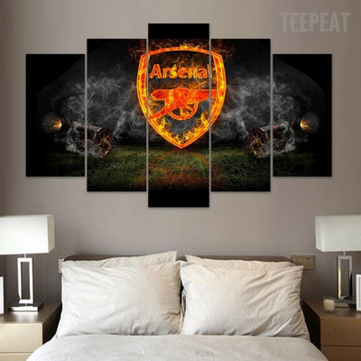 "TEEPEAT Canvas Medium / Unframed Arsenal ""Smoking"" - 5 Piece Canvas Painting"