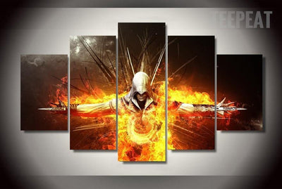 TEEPEAT Canvas Medium / Unframed Assassin's Creed Painting - 5 Piece Canvas