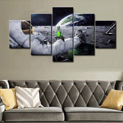 TEEPEAT Canvas Medium / Unframed Astronaut On The Moon - 5 Piece Canvas Painting