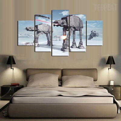 TEEPEAT Canvas Medium / Unframed AT-AT Invasion - 5 Piece Canvas Painting