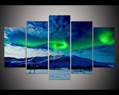 TEEPEAT Canvas Medium / Unframed Aurora Borealis in the Cloudy Sky - 5 Piece Canvas Painting