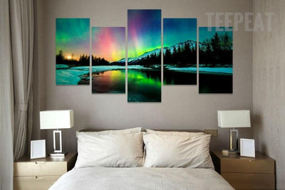 TEEPEAT Canvas Medium / Unframed Aurora Borealis Over The Mountain -  5 Piece Canvas Painting