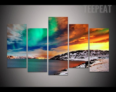 TEEPEAT Canvas Medium / Unframed Aurora Borealis Painting - 5 Piece Canvas