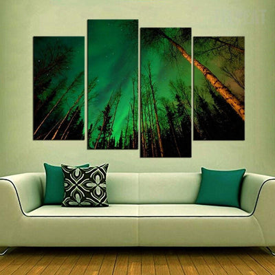 TEEPEAT Canvas Medium / Unframed Aurora Borealis Within the Forest - 4 Piece Canvas Painting