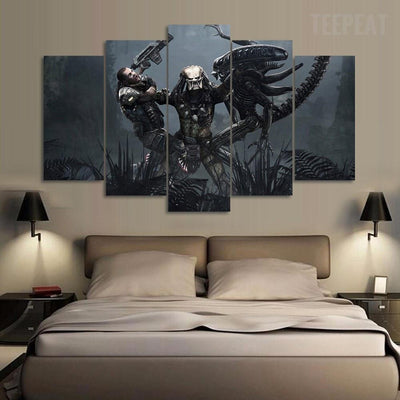 TEEPEAT Canvas Medium / Unframed AVP - Predator Reigns  - 5 Piece Canvas Painting