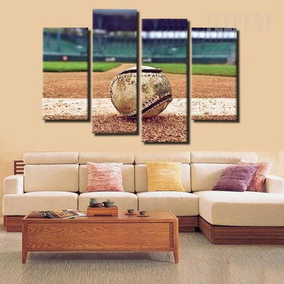 TEEPEAT Canvas Medium / Unframed Baseball Painting - 4 Piece Canvas