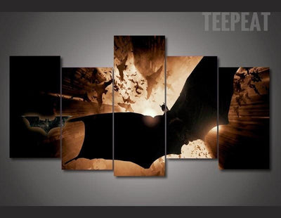 TEEPEAT Canvas Medium / Unframed Batman Landscape View - 5 Piece Canvas