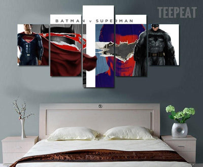 TEEPEAT Canvas Medium / Unframed Batman vs Superman: Dawn of Justice Painting - 5 Piece Canvas