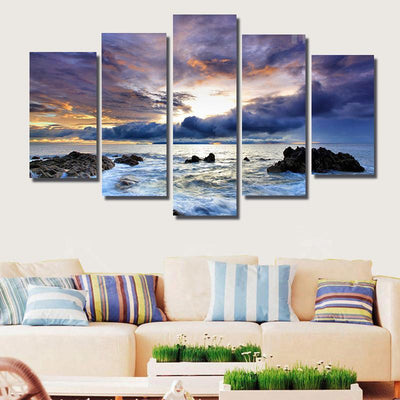 TEEPEAT Canvas Medium / Unframed Beach and Life - 5 Piece Canvas